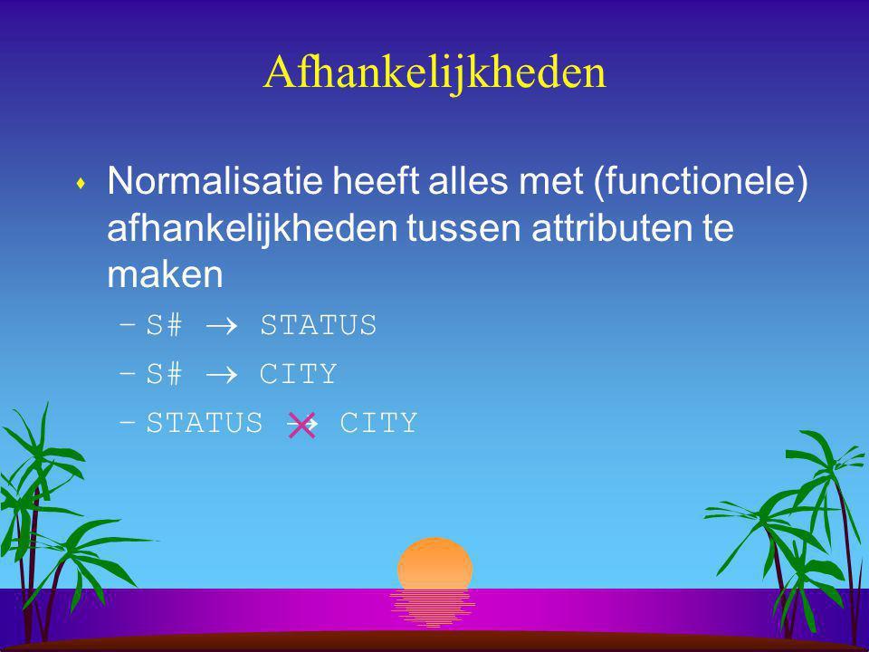 Functionele afhankelijkheden s Centraal begrip bij normalisatie.
