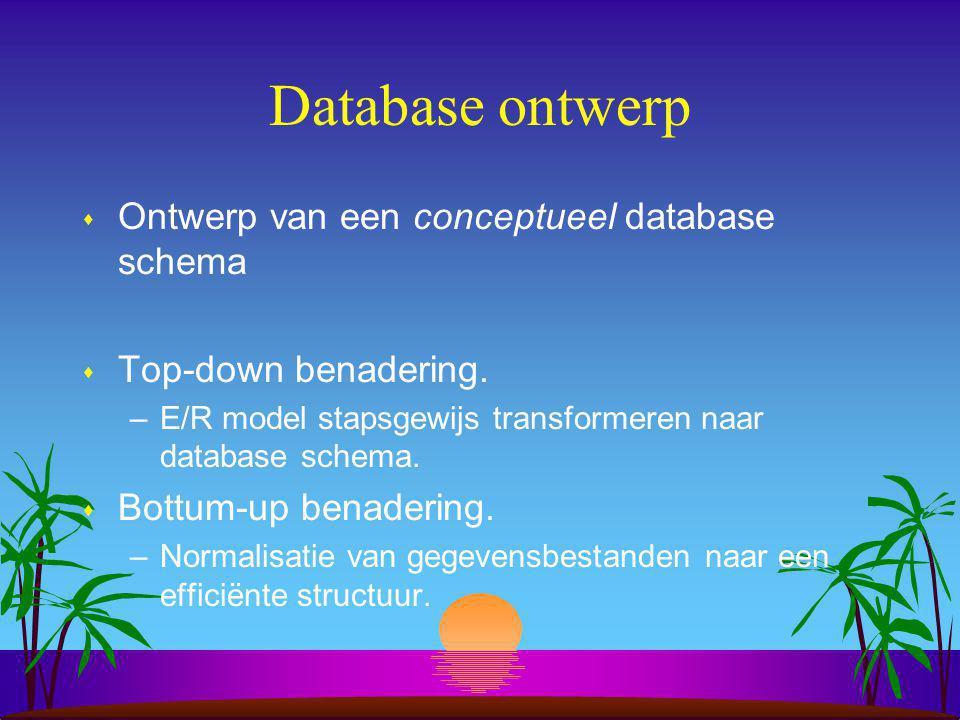 Van E/R model naar database schema s Creëer een E/R model.