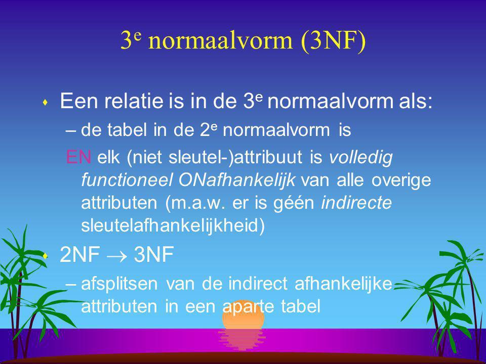 Voorbeeld 2NF  3NF