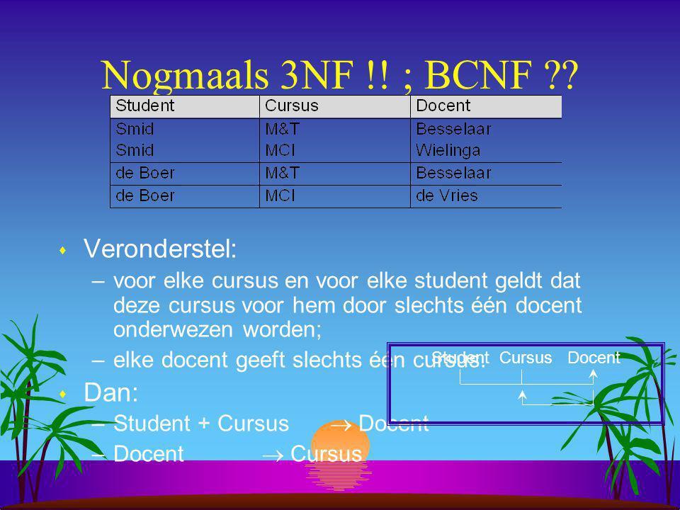 Nogmaals 3NF !.; BCNF ?.