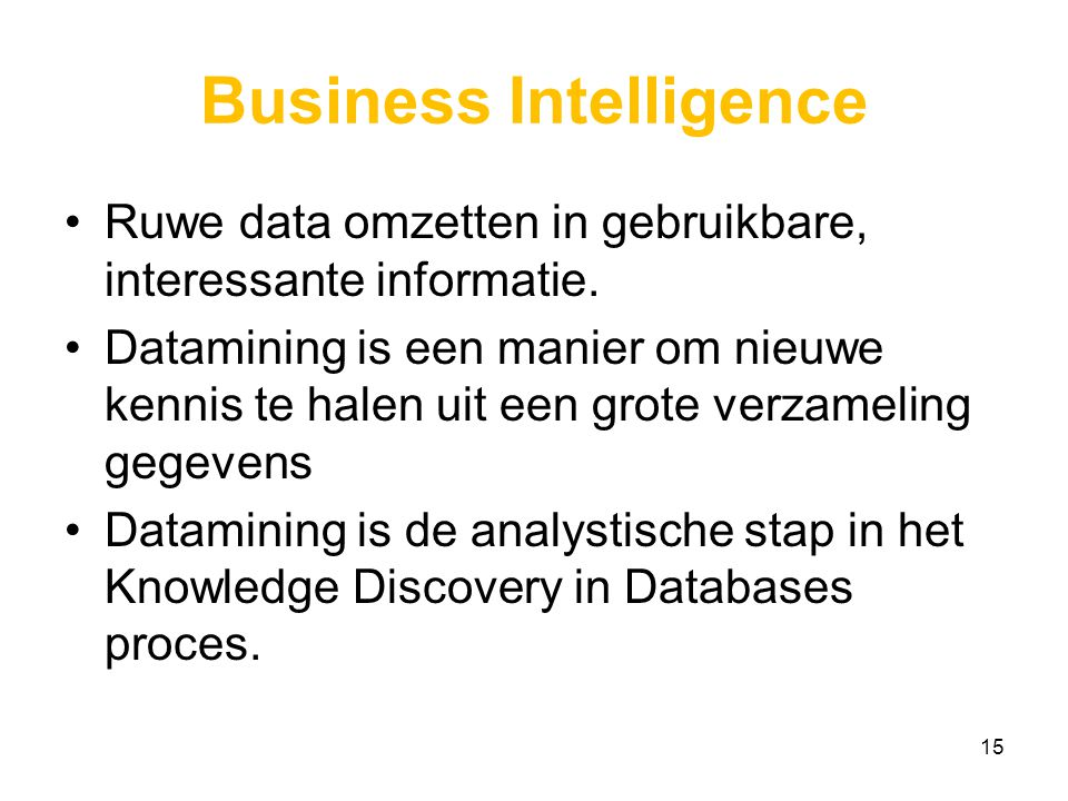 Business Intelligence Ruwe data omzetten in gebruikbare, interessante informatie.
