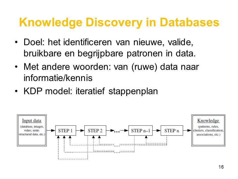Knowledge Discovery in Databases Doel: het identificeren van nieuwe, valide, bruikbare en begrijpbare patronen in data.