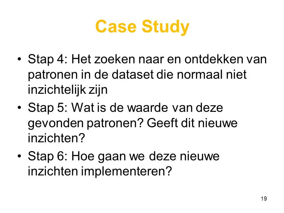Case Study Stap 4: Het zoeken naar en ontdekken van patronen in de dataset die normaal niet inzichtelijk zijn Stap 5: Wat is de waarde van deze gevonden patronen.