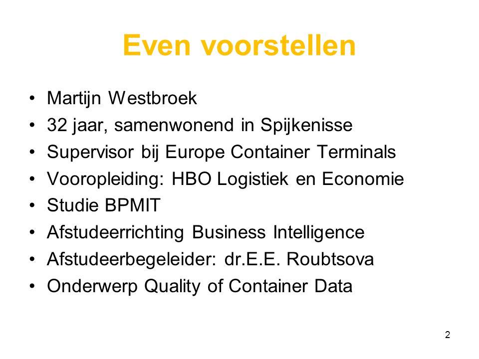 Inhoud Domein: Container Terminal Operations Probleem- en doelstelling Onderzoeksmodel Business Intelligence & Knowledge Discovery Case Study Data-Analyse: Eerste resultaten Reflectie Afsluiting 3