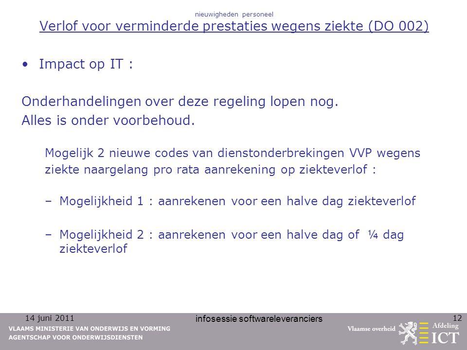 14 juni 2011 infosessie softwareleveranciers 12 nieuwigheden personeel Verlof voor verminderde prestaties wegens ziekte (DO 002) Impact op IT : Onderh