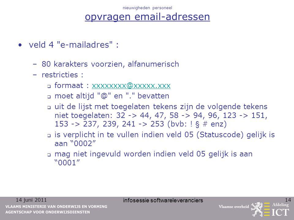 14 juni 2011 infosessie softwareleveranciers 14 nieuwigheden personeel opvragen email-adressen veld 4