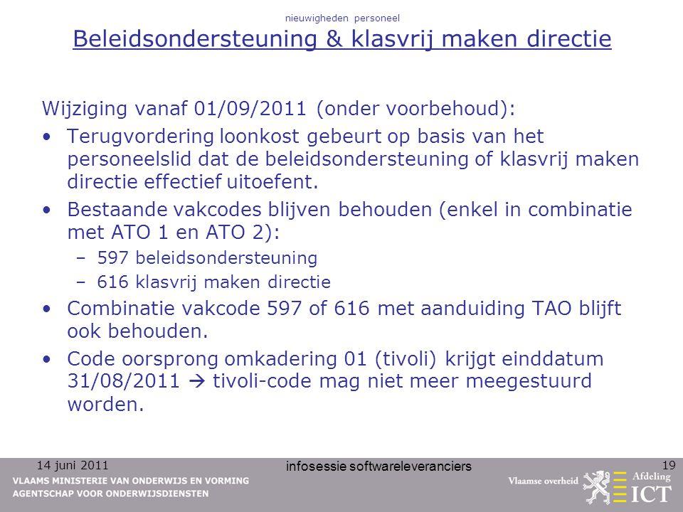 14 juni 2011 infosessie softwareleveranciers 19 nieuwigheden personeel Beleidsondersteuning & klasvrij maken directie Wijziging vanaf 01/09/2011 (onde