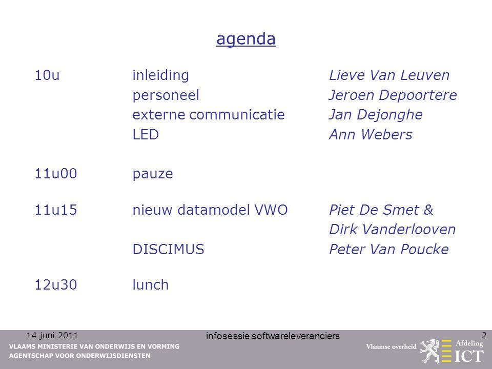 14 juni 2011 infosessie softwareleveranciers 2 agenda 10u inleidingLieve Van Leuven personeelJeroen Depoortere externe communicatieJan Dejonghe LEDAnn