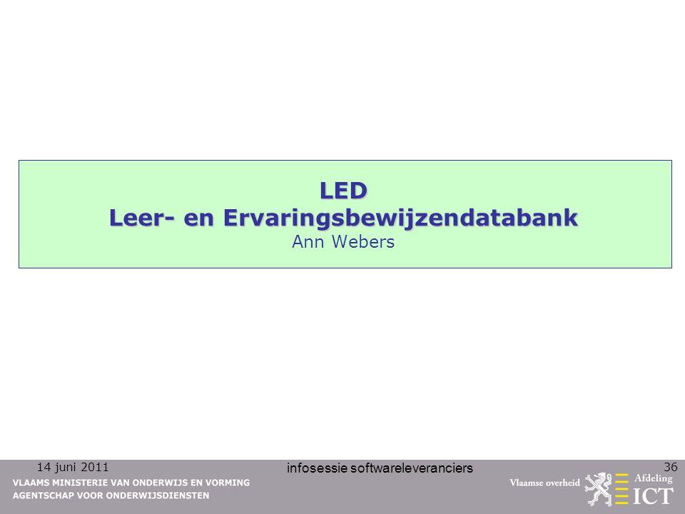 14 juni 2011 infosessie softwareleveranciers 36 LED Leer- en Ervaringsbewijzendatabank LED Leer- en Ervaringsbewijzendatabank Ann Webers
