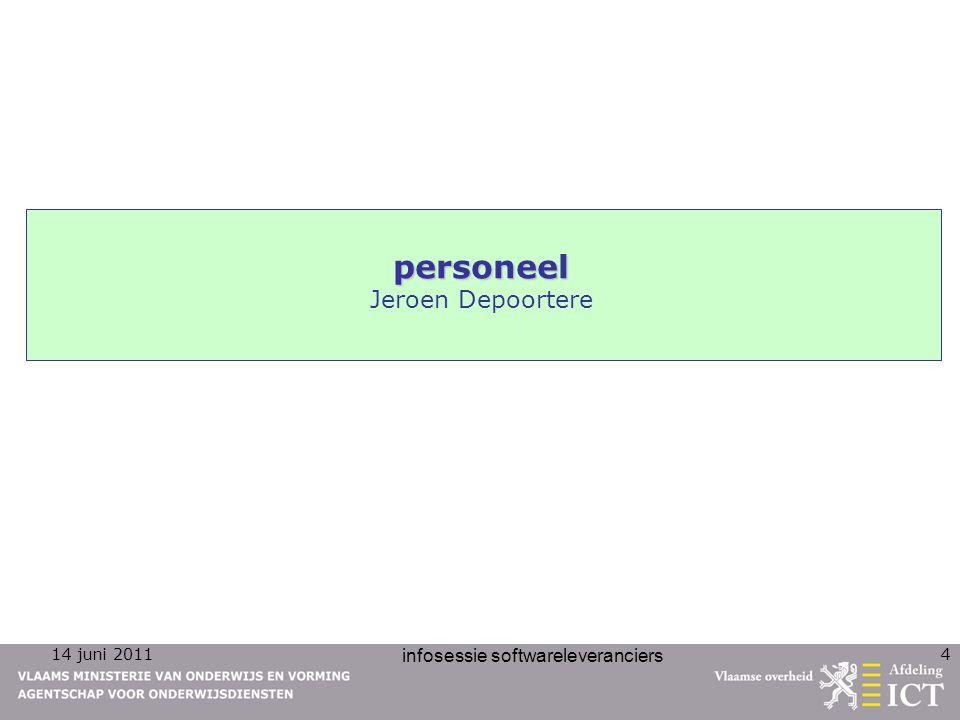 14 juni 2011 infosessie softwareleveranciers 15 nieuwigheden personeel opvragen email-adressen veld 5 statuscode : –4 posities, numeriek –restricties :  Toegelaten waarden: – 0001 : Wenst geen e-mailadres op te geven – 0002 : E-mailadres opgegeven  Moet gelijk zijn aan 0002 indien veld 04 (e-mailadres) ingevuld is  Moet gelijk zijn aan 0001 indien veld 04 (e-mailadres) niet ingevuld is