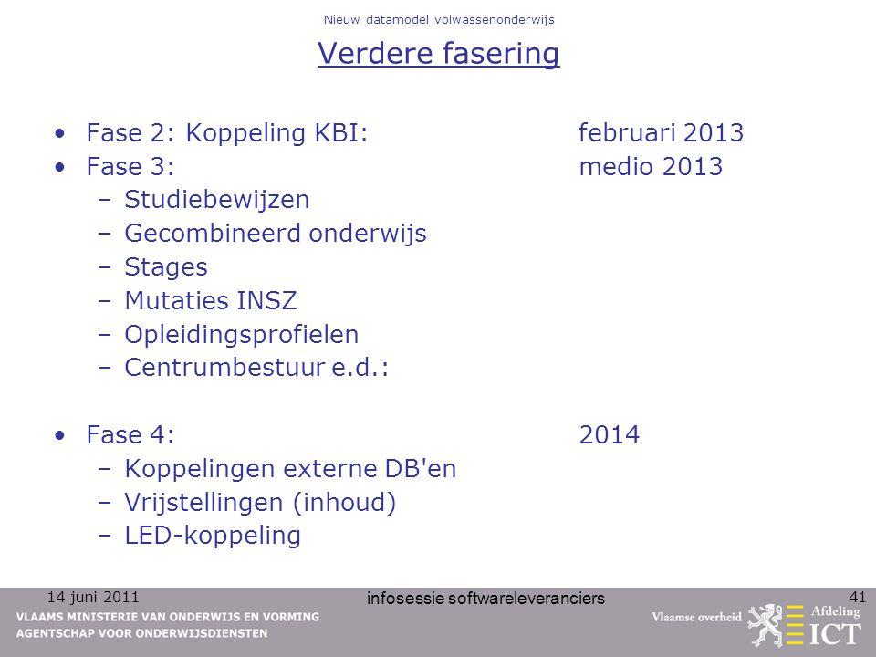 14 juni 2011 infosessie softwareleveranciers 41 Nieuw datamodel volwassenonderwijs Verdere fasering Fase 2: Koppeling KBI: februari 2013 Fase 3: medio