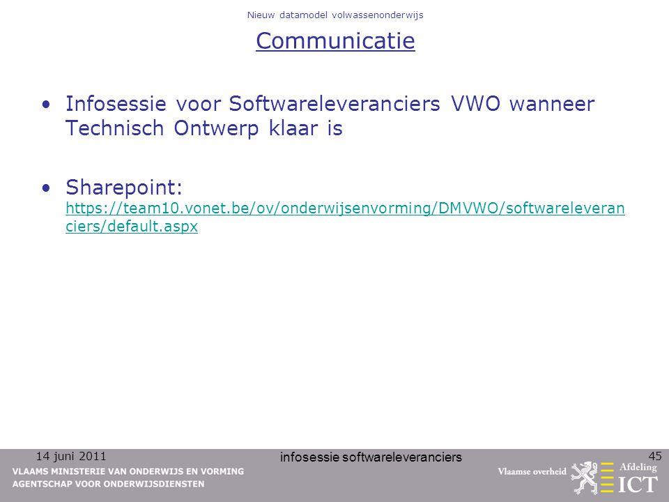 14 juni 2011 infosessie softwareleveranciers 45 Nieuw datamodel volwassenonderwijs Communicatie Infosessie voor Softwareleveranciers VWO wanneer Techn