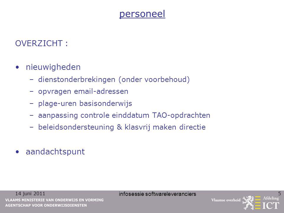 14 juni 2011 infosessie softwareleveranciers 5 personeel OVERZICHT : nieuwigheden –dienstonderbrekingen (onder voorbehoud) –opvragen email-adressen –p