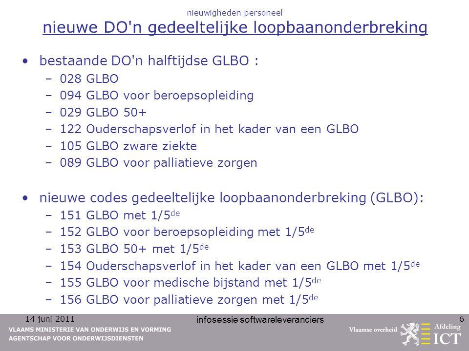 14 juni 2011 infosessie softwareleveranciers 6 nieuwigheden personeel nieuwe DO'n gedeeltelijke loopbaanonderbreking bestaande DO'n halftijdse GLBO :