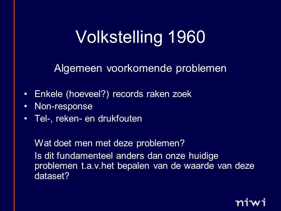 Volkstelling 1960 Algemeen voorkomende problemen Enkele (hoeveel ) records raken zoek Non-response Tel-, reken- en drukfouten Wat doet men met deze problemen.