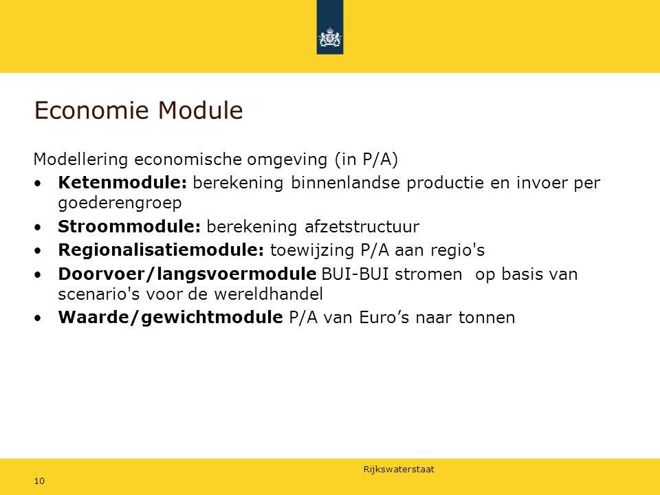 Rijkswaterstaat 10 Economie Module Modellering economische omgeving (in P/A) Ketenmodule: berekening binnenlandse productie en invoer per goederengroe