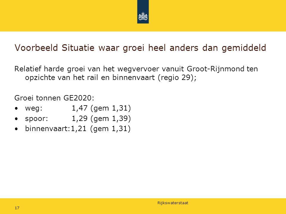 Rijkswaterstaat 17 Voorbeeld Situatie waar groei heel anders dan gemiddeld Relatief harde groei van het wegvervoer vanuit Groot-Rijnmond ten opzichte
