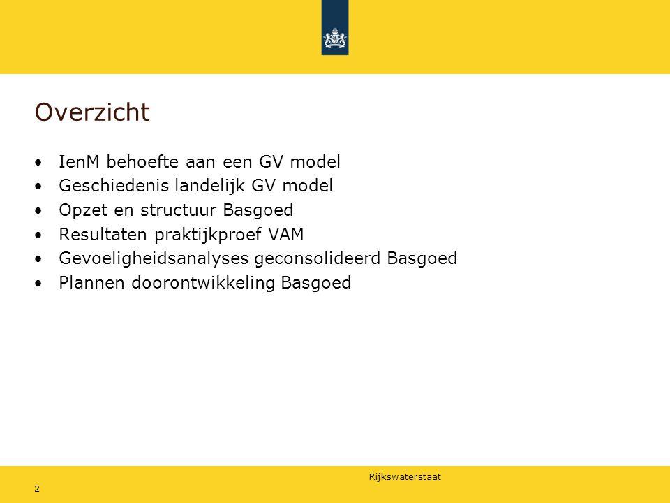 Rijkswaterstaat 2 Overzicht IenM behoefte aan een GV model Geschiedenis landelijk GV model Opzet en structuur Basgoed Resultaten praktijkproef VAM Gev