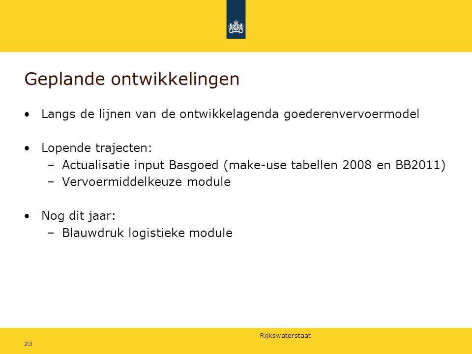 Rijkswaterstaat 23 Geplande ontwikkelingen Langs de lijnen van de ontwikkelagenda goederenvervoermodel Lopende trajecten: –Actualisatie input Basgoed