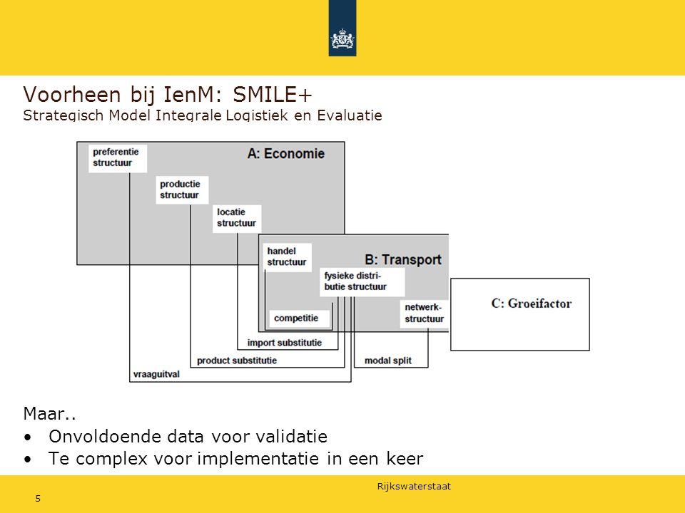 Rijkswaterstaat 5 Voorheen bij IenM: SMILE+ Strategisch Model Integrale Logistiek en Evaluatie Maar.. Onvoldoende data voor validatie Te complex voor
