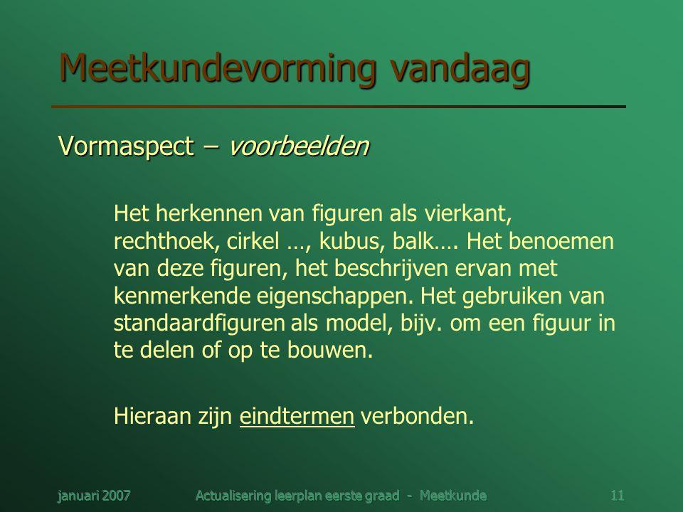 januari 2007Actualisering leerplan eerste graad - Meetkunde11 Meetkundevorming vandaag Vormaspect – voorbeelden Het herkennen van figuren als vierkant