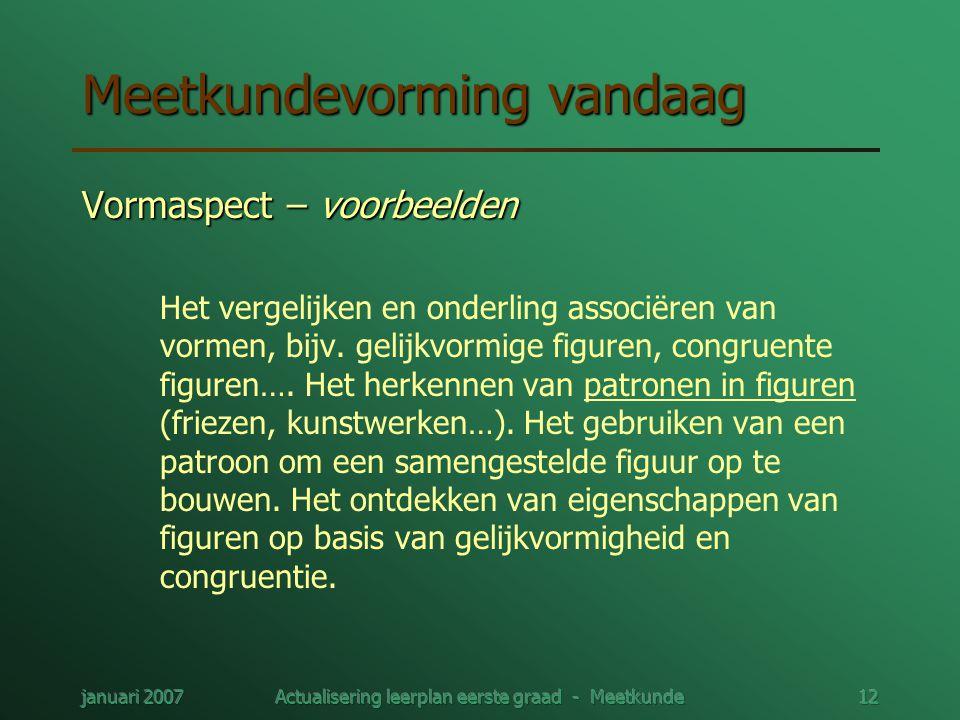 januari 2007Actualisering leerplan eerste graad - Meetkunde12 Meetkundevorming vandaag Vormaspect – voorbeelden Het vergelijken en onderling associëre