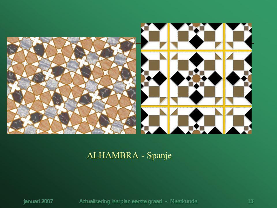 januari 2007Actualisering leerplan eerste graad - Meetkunde13 ALHAMBRA - Spanje