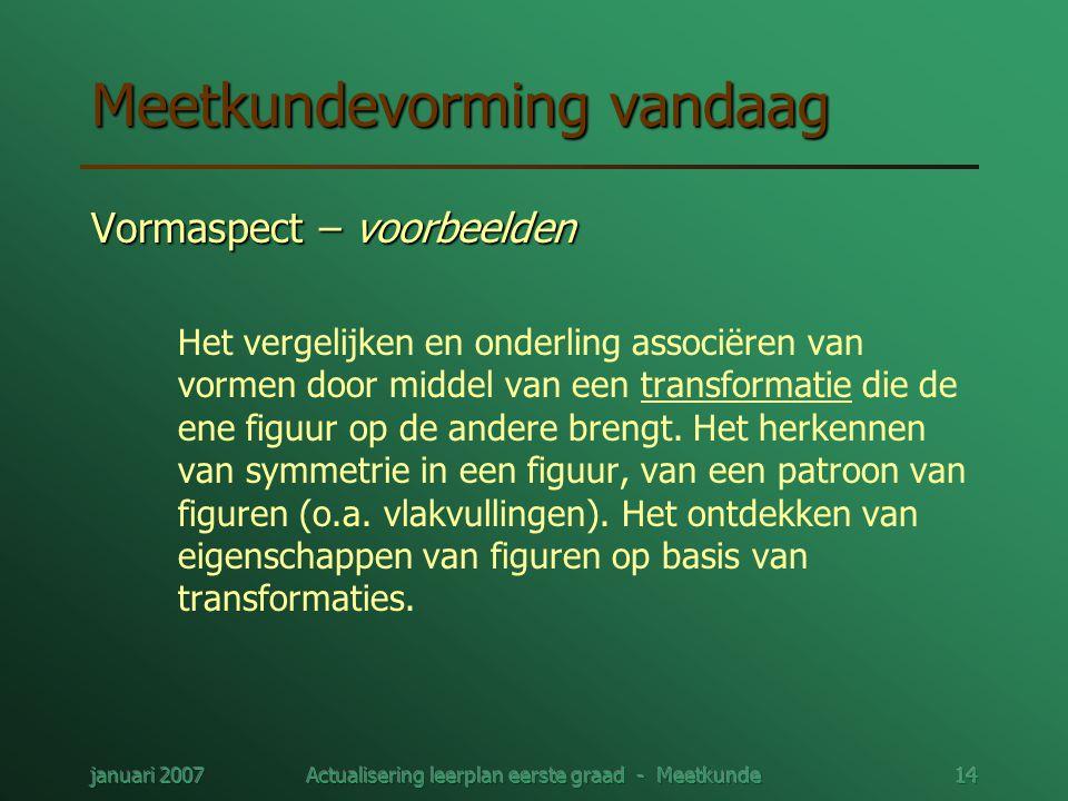 januari 2007Actualisering leerplan eerste graad - Meetkunde14 Meetkundevorming vandaag Vormaspect – voorbeelden Het vergelijken en onderling associëre