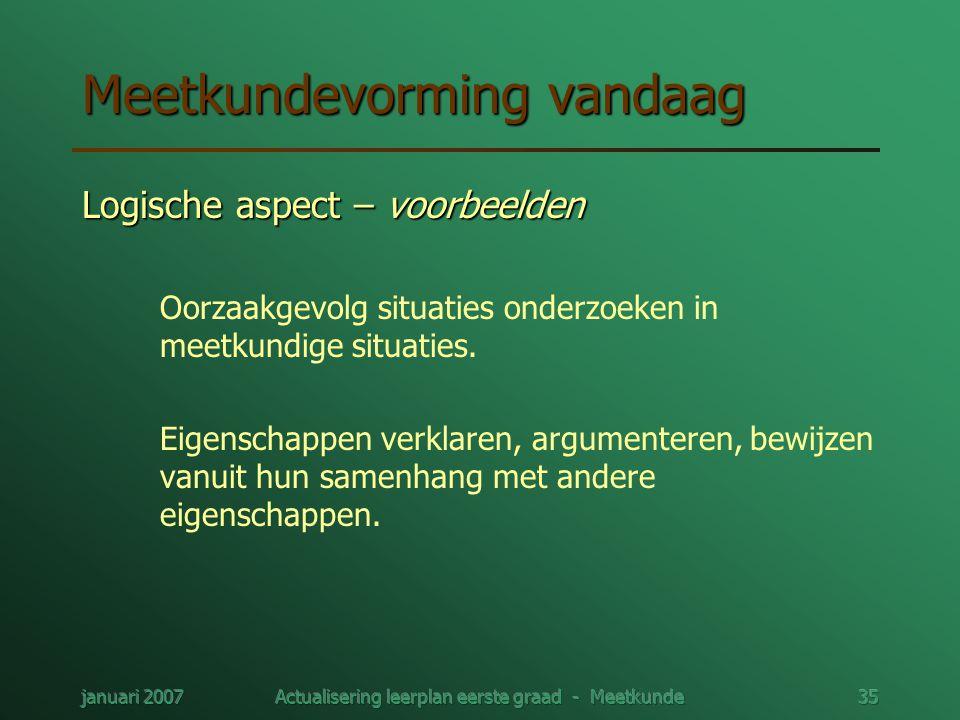 januari 2007Actualisering leerplan eerste graad - Meetkunde35 Meetkundevorming vandaag Logische aspect – voorbeelden Oorzaakgevolg situaties onderzoek