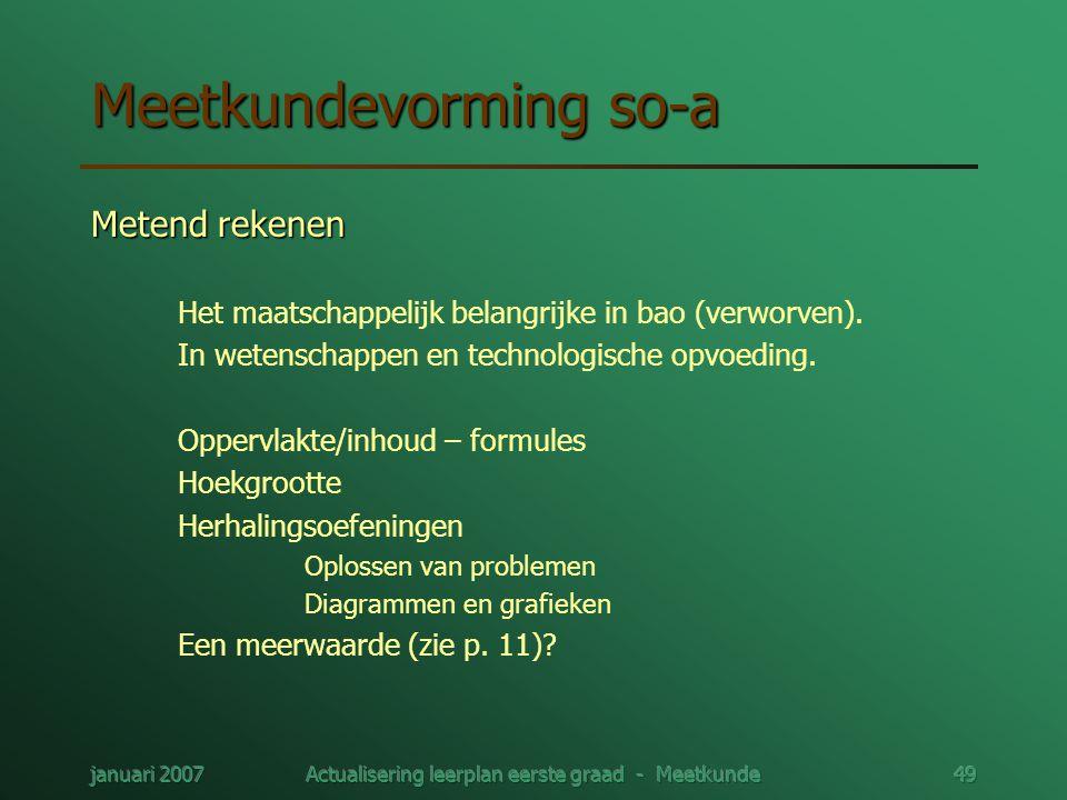 januari 2007Actualisering leerplan eerste graad - Meetkunde49 Meetkundevorming so-a Metend rekenen Het maatschappelijk belangrijke in bao (verworven).