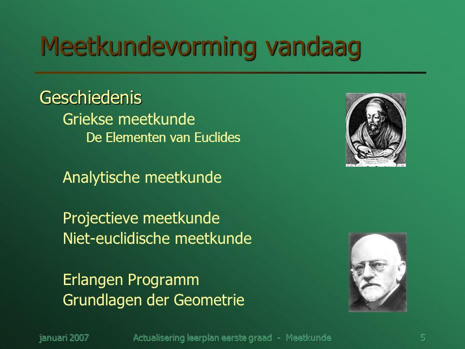 januari 2007Actualisering leerplan eerste graad - Meetkunde5 Meetkundevorming vandaag Geschiedenis Griekse meetkunde De Elementen van Euclides Analyti