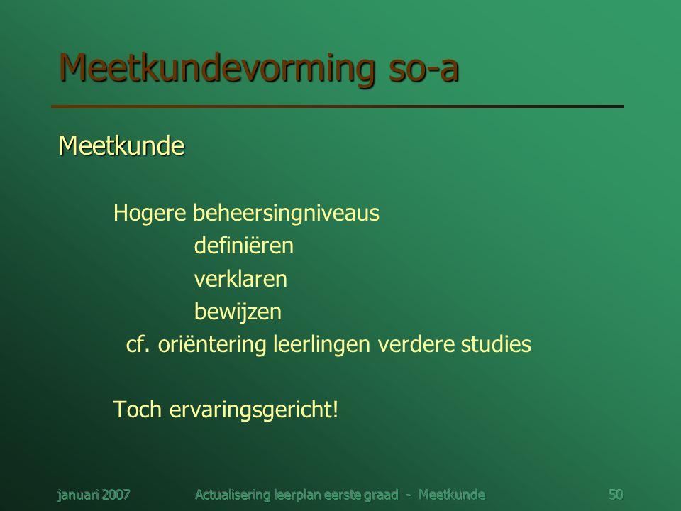 januari 2007Actualisering leerplan eerste graad - Meetkunde50 Meetkundevorming so-a Meetkunde Hogere beheersingniveaus definiëren verklaren bewijzen c