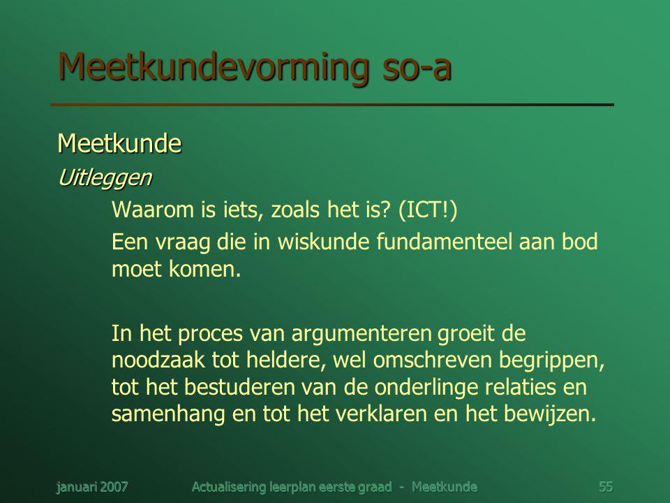 januari 2007Actualisering leerplan eerste graad - Meetkunde55 Meetkundevorming so-a MeetkundeUitleggen Waarom is iets, zoals het is? (ICT!) Een vraag
