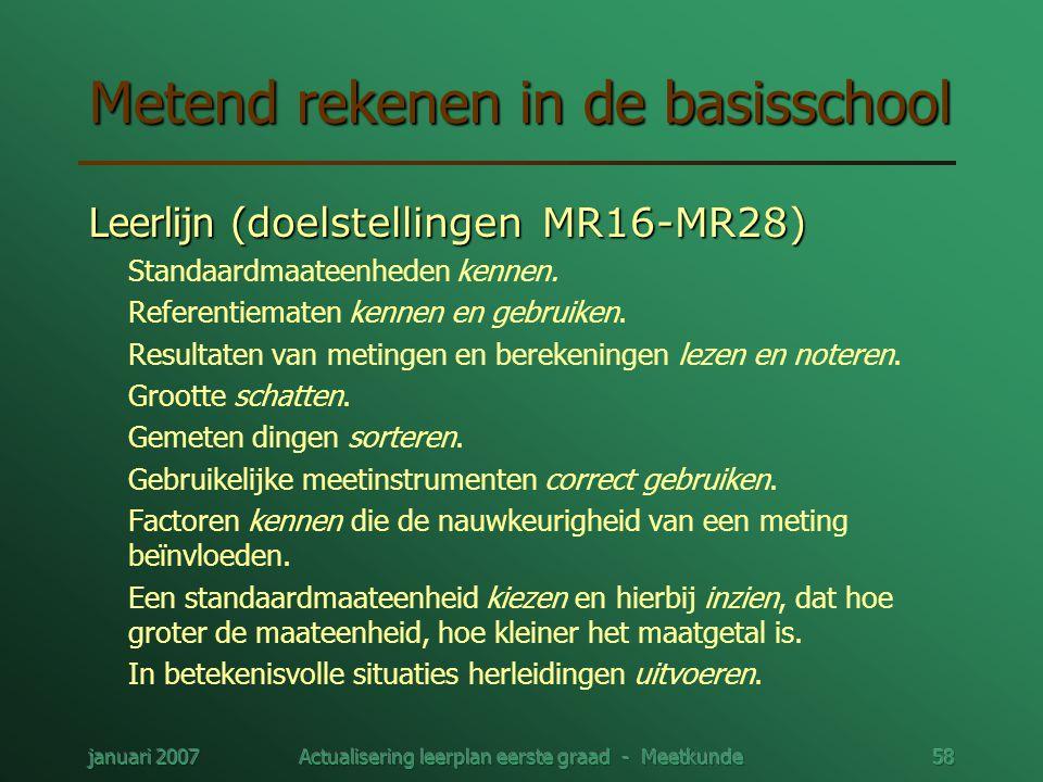 januari 2007Actualisering leerplan eerste graad - Meetkunde58 Metend rekenen in de basisschool Leerlijn ( doelstellingen MR16-MR28) Standaardmaateenhe