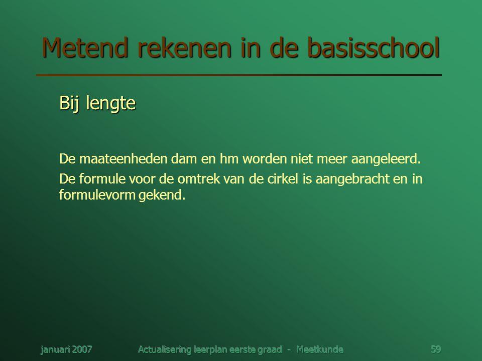 januari 2007Actualisering leerplan eerste graad - Meetkunde59 Metend rekenen in de basisschool Bij lengte De maateenheden dam en hm worden niet meer a