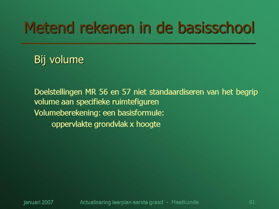januari 2007Actualisering leerplan eerste graad - Meetkunde61 Metend rekenen in de basisschool Bij volume Doelstellingen MR 56 en 57 niet standaardise
