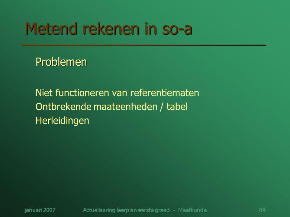 januari 2007Actualisering leerplan eerste graad - Meetkunde64 Metend rekenen in so-a Problemen Niet functioneren van referentiematen Ontbrekende maate