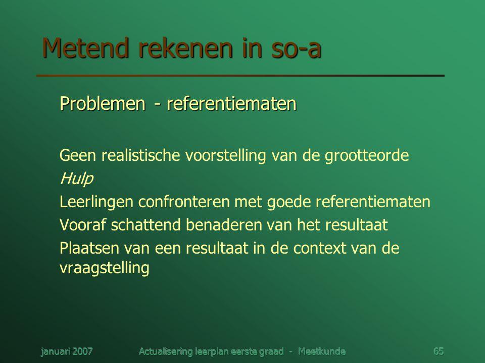 januari 2007Actualisering leerplan eerste graad - Meetkunde65 Metend rekenen in so-a Problemen - referentiematen Geen realistische voorstelling van de