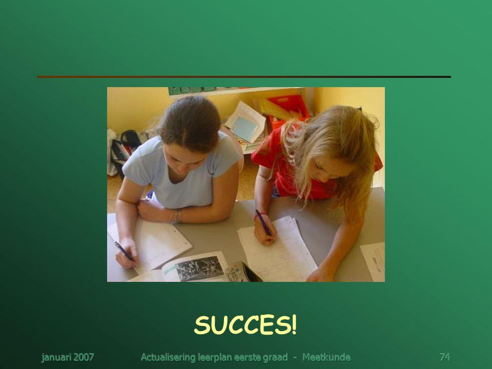 januari 2007Actualisering leerplan eerste graad - Meetkunde74 SUCCES!