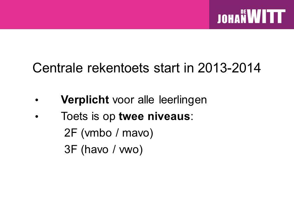 Centrale rekentoets start in 2013-2014 Verplicht voor alle leerlingen Toets is op twee niveaus: 2F (vmbo / mavo) 3F (havo / vwo)