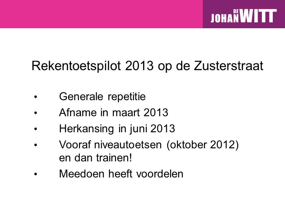 Rekentoetspilot 2013 op de Zusterstraat Generale repetitie Afname in maart 2013 Herkansing in juni 2013 Vooraf niveautoetsen (oktober 2012) en dan trainen.