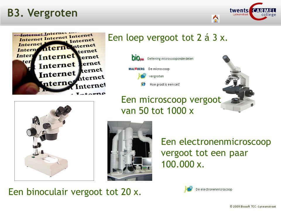 © 2009 Biosoft TCC - Lyceumstraat B3. Vergroten Een loep vergoot tot 2 á 3 x. Een microscoop vergoot van 50 tot 1000 x Een binoculair vergoot tot 20 x