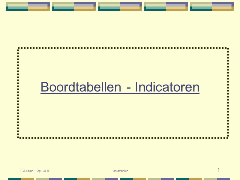 RMC bvba - Sept.2008Boordtabellen 2 1. Indicatoren en boordtabellen 2.