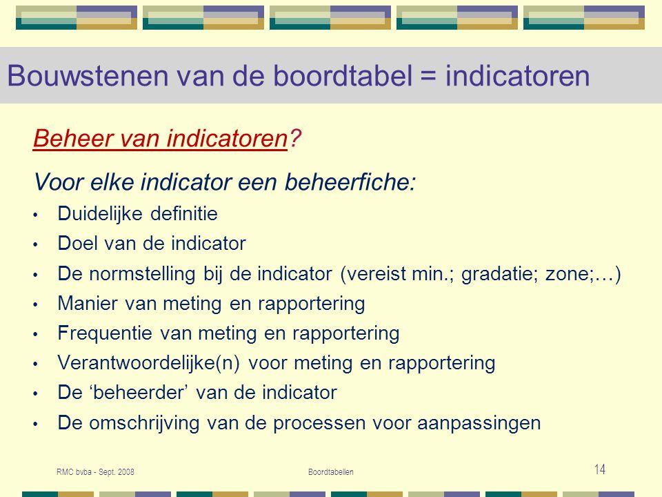 RMC bvba - Sept.2008Boordtabellen 15 Bouwstenen van de boordtabel = indicatoren T.o.v.