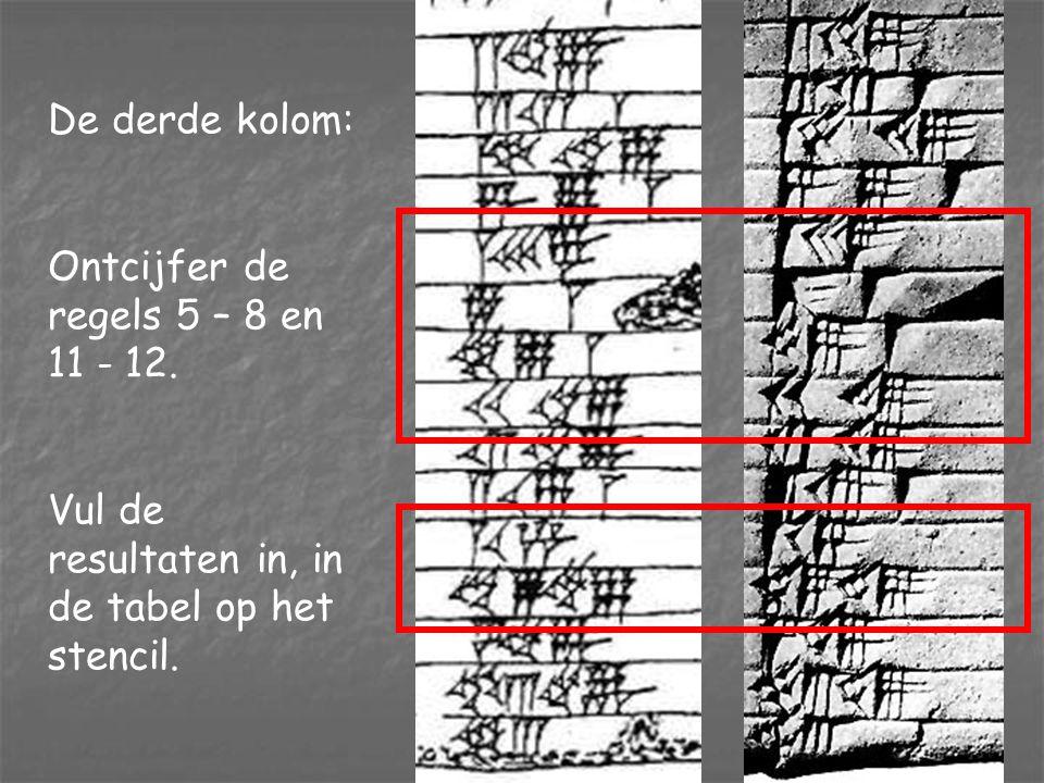 De tweede kolom: Ontcijfer de regels 5 - 8 en 11 - 12. Vul de resultaten in, in de tabel op het stencil.