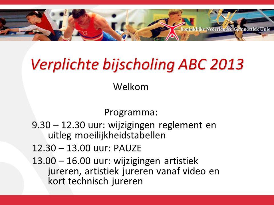 Verplichte bijscholing ABC 2013 Welkom Programma: 9.30 – 12.30 uur: wijzigingen reglement en uitleg moeilijkheidstabellen 12.30 – 13.00 uur: PAUZE 13.