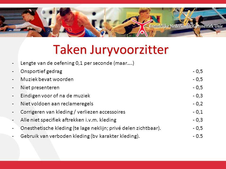 Taken Juryvoorzitter -Lengte van de oefening 0,1 per seconde (maar….) -Onsportief gedrag- 0,5 -Muziek bevat woorden- 0,5 -Niet presenteren - 0,5 -Eind