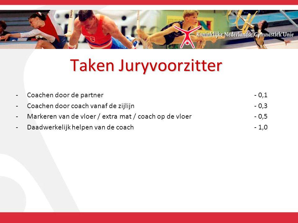 Taken Juryvoorzitter -Coachen door de partner- 0,1 -Coachen door coach vanaf de zijlijn- 0,3 -Markeren van de vloer / extra mat / coach op de vloer- 0