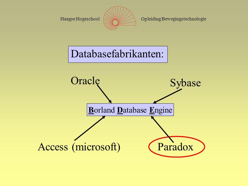 Opleiding BewegingstechnologieHaagse Hogeschool Databasefabrikanten: Oracle Sybase Access (microsoft)Paradox Borland Database Engine