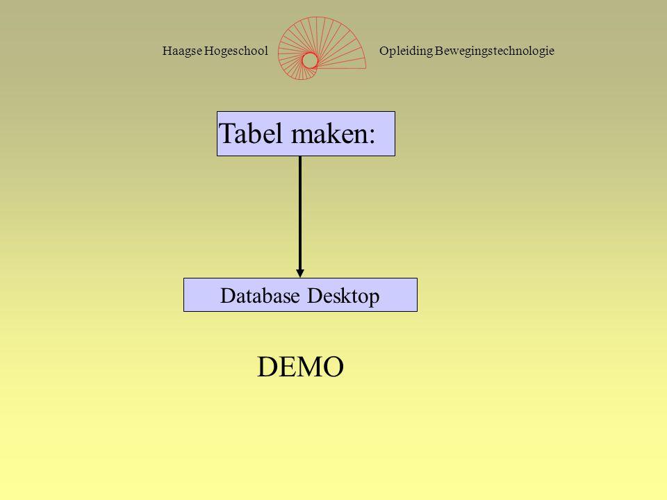 Opleiding BewegingstechnologieHaagse Hogeschool Tabel maken: DEMO Database Desktop